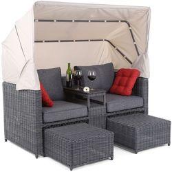 Sofa ogrodowa z baldachimem technorattan michigan g/g marki Home&garden