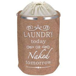 Emako Okrągły kosz na pranie deluxe beige, tkanina jutowa (8711295739194)