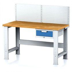 B2b partner Stół warsztatowy mechanic z nadstawką, 1500x700x700-1055 mm, nogi regulowane, 1x 1 szufladowy kontener, szary/niebieski
