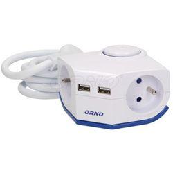 Przedłużacz biur. z pł. wty. wyłącz, USBx2, 1,5m, OR-AE-1343