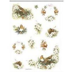 Papier ryżowy Decomania 35x50cm - PTAKI I KWIATY, kup u jednego z partnerów