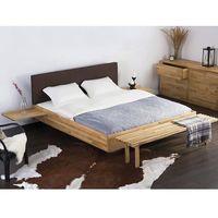 Beliani Podwójne łóżko drewniane ze stelażem 180x200 cm, brązowe arras (7081457433484)