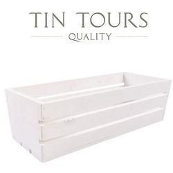 Tin tours sp.z o.o. Biała drewniana skrzynka / balkonówka 70x18x15h cm