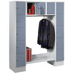 Szafa na garderobę, otwarta, wys. x szer. całk.: 1850x1500 mm, 13 półek, srebrno