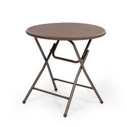 burgos round stół składany technorattan Ø blatu 80 cm 4 os. brązowy marki Blumfeldt