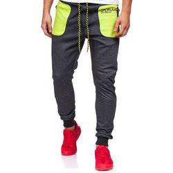 Antracytowo-czarne spodnie dresowe męskie Denley 3722 - ANTRACYTOWO-CZARNY