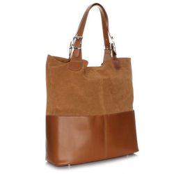 Ekskluzywna włoska torebka skórzana wykonana z najwyższej jakości skóry + kosmetyczka ruda, marki Genuine
