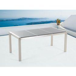 Stół szary polerowany ze stali nierdzewnej 180cm - granitowy blat - dzielona płyta - GROSSETO - sprawdź w wybranym sklepie