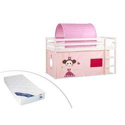 Łóżko na podwyższeniu kate z różowymi zasłonkami i namiotem - 90 × 190 cm - lite drewno sosnowe - biały + materac zeus 90 × 190 cm marki Vente-unique