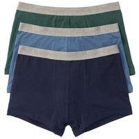 Bokserki (3 pary) bonprix ciemnoniebieski + niebieski dżins + zielony