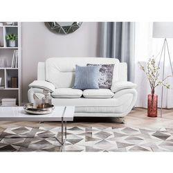 Sofa skóra ekologiczna dwuosobowa biała LEIRA