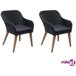 krzesła ogrodowe z poduszkami, 2 szt., polirattan, czarne marki Vidaxl