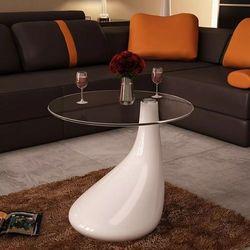 Biały stolik kawowy z okrągłym, szklanym blatem, wysoki połysk