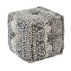 Qazqa Orientalny kwadratowy puf 40x40 szary - mumbai