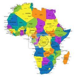Obraz Kolorowe Afryka mapa polityczna z wyraźnie oznakowanych, oddzielnych warstwach. Ilustracji wektorowych. (mapa szkolna)