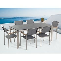 Meble ogrodowe - stół granitowy – cała płyta - 180 cm czarny palony z 6 szarymi krzesłami - GROSSETO - sprawdź w wybranym sklepie