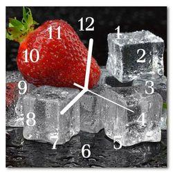Zegar szklany kwadratowy Lody truskawkowe