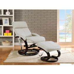 Fotel masujący RODRIGO ze skóry - Biały, kolor biały