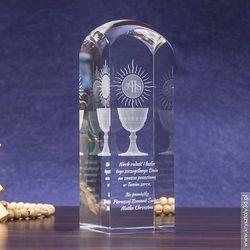 Pamiątka Komunii »hostia i kielich« wysoka • kryształ 3D wysoki, zaokrąglony z kategorii Na Pierwszą K