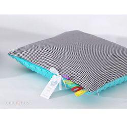 Mamo-tato poduszka minky dwustronna 40x40 pepitka czarna / turkus