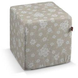 pufa kostka, lniano-beżowe kwiaty, 40 × 40 × 40 cm, rustica do -30% marki Dekoria