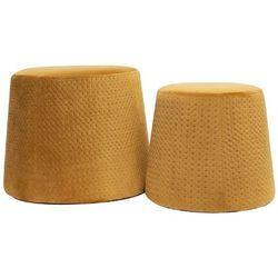 Zestaw 2 puf sabel velvet miodowe - żółty marki Intesi