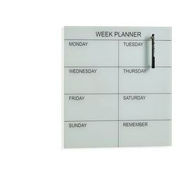 Tablica szklana peggy, plan tygodniowy, 450x450 mm, biały marki Aj produkty
