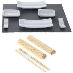 Excellent houseware Zestaw do sushi czarno-biały dla dwóch osób, 11 elementów - (8711295787133)