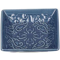 Stylowa mydelniczka z wzorami, dekoracja łazienki, rustykalna, ornament, trwała ceramika, ciemnoniebieski kolor marki Wenko