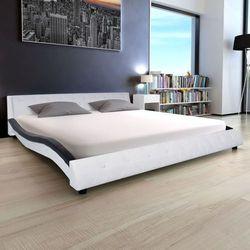 Vidaxl łóżko ze sztucznej skóry i materac memory 180 cm, biało-czarne (8718475558873)