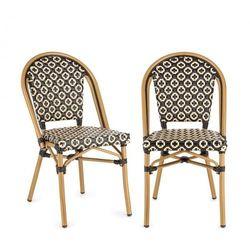 Blumfeldt Montbazin BL Krzesło możliwość ułożenia jedno na drugim rama aluminiowa polirattan czarno-kremowy
