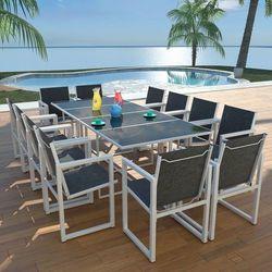 13-częściowy zestaw mebli ogrodowych, 220x100x72 cm, aluminium marki Vidaxl