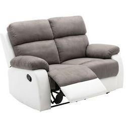 Sofa 2-osobowa TOLZANO z manualną funkcją relaksu, z mikrofibry i ekoskóry – kolor szary i biały, kolor biały