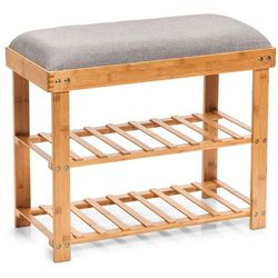 Bambusowa szafka na buty z siedziskiem, siedzisko do przedpokoju, stojak na buty, regał na buty, ławka na buty, meble bambusowe, ZELLER (4003368142357)