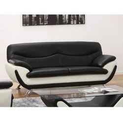 Sofa 3-osobowa z materiału skóropodobnego INDICE - Model dwukolorowy czarny i biały, kolor biały