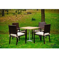 Bello giardino Komplet mebli ogrodowych stolik z krzesłami gaweł z technorattanu ciemny brąz