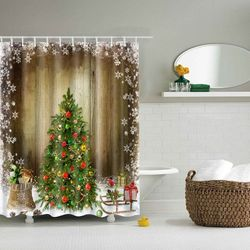 Merry Christmas Printed Waterproof Shower Curtain