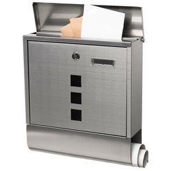 Springos Skrzynka na listy pocztowa 33,5x30,5x9,5cm nowoczesna z gazetnikiem i okienkiem stal nierdzewna (5907719403854)