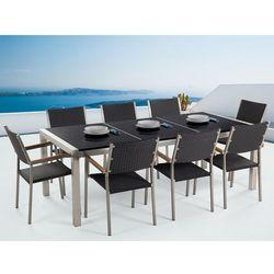 Beliani Meble ogrodowe - stół granitowy czarny polerowany 220 cm z 8 rattanowymi krzesłami - grosseto
