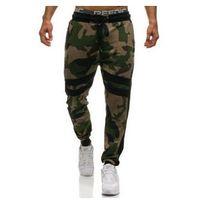 Spodnie męskie dresowe joggery moro-zielone Denley 0877, kolor zielony