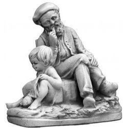 Figura ogrodowa betonowa dziecko z dziadkiem 24cm