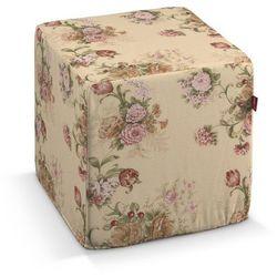 Dekoria  pufa kostka twarda, klasyczne róże,beżowe tło, 40x40x40 cm, flowers