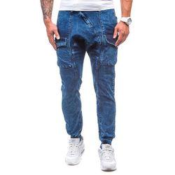Granatowo-szare spodnie jeansowe baggy męskie Denley 191 - GRANATOWO-SZARY, kolor niebieski