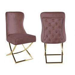 Krzesło tapicerowane y-2009 różowywelur / złote nogi marki Meblin