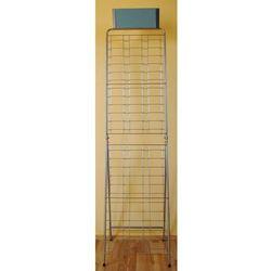 Metalowy stojak na okulary 72pary, wąski - srebrny, z lustrem, 00851