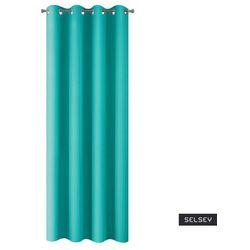 zasłona na przelotkach daplio 135x250 cm turkusowa marki Selsey