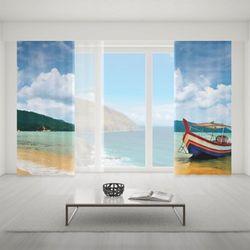 Zasłona okienna na wymiar komplet - BOAT ON THE BEACH