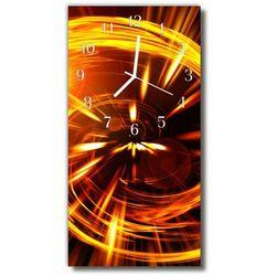 Zegar Szklany Pionowy Linie złote abstrakcja pomarańczowy