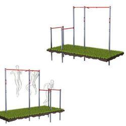 K-sport Drążek ogrodowy stacjonarny zewnętrzny + poręcze drabinką monkeybar-street workout ksoz005