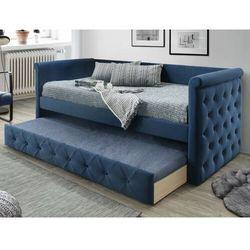 Tapicerowana kanapa LOUISE z wysuwanym łóżkiem – 2 × 90 × 190 cm (dł. × szer. × wys.) – tkanina w kolorze niebieskim
